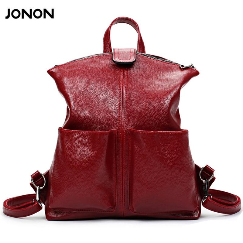 JONON Women Backpack High Quality PU Leather Mochila Escolar School Bags For Teenagers Girls Top Handle
