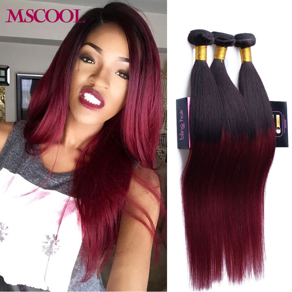 7A Ombre Brazilian Virgin Hair Straight 4 Bundles Burgundy
