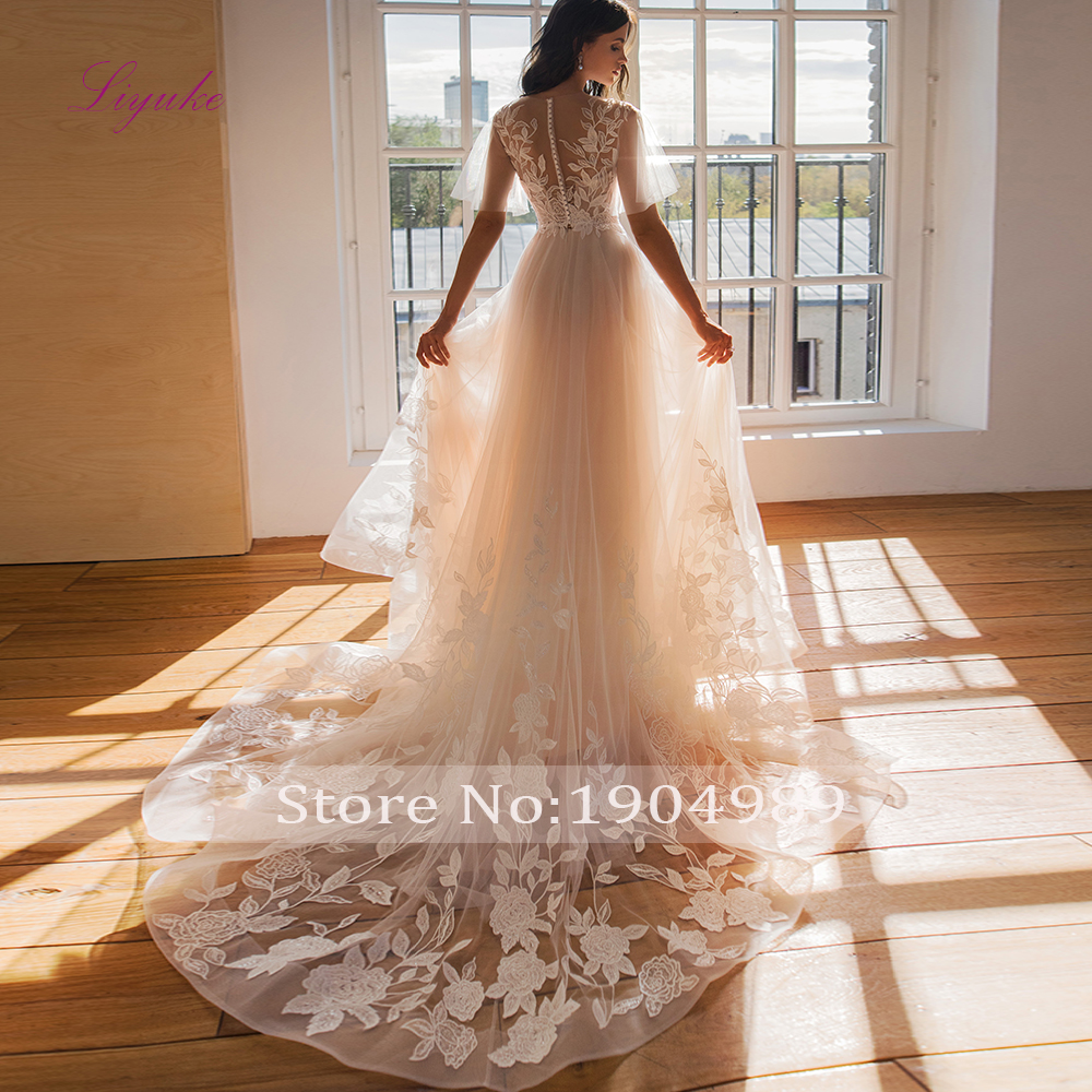 Liyuke 2019 Married A-line Wedding Dress Lace Flower Appliques Pattern Beading Sequins Flare Sleeves Customized