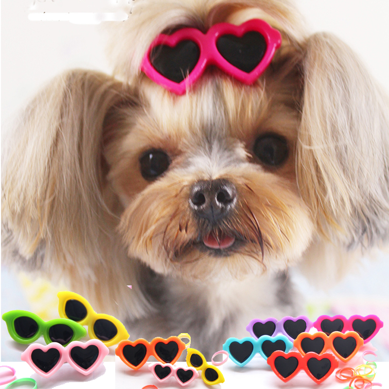 Heart Glasses font b Pet b font Puppy Accessories Dog Bows PT45 Chihuahua Poodle Cat Animals