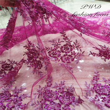 Sequins Beaded Mesh Lace Fabric French Embroidered Lace Material Fabric French Tulle Sequins Lace Fabric For Wedding Party