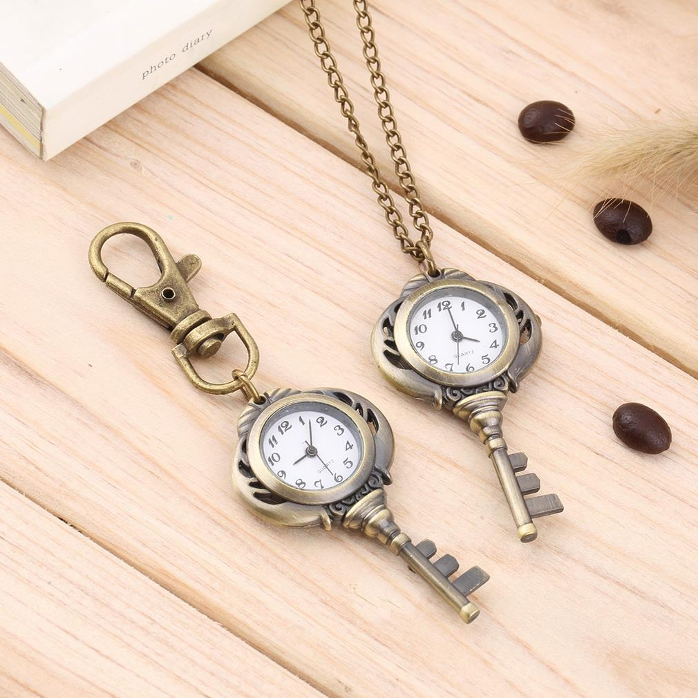 Vintage Antique Stainless Steel Quartz Pocket Watch Key Shaped Pendant Watch Key Chain Unisex Gift New Popular Style Hot Selling old antique bronze doctor who theme quartz pendant pocket watch with chain necklace free shipping