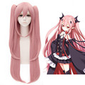 Free Shipping 100cm Long Straight Pink Seraph of the end Cosplay Hair Krul Tepes Wig Synthetic Anime Cosplay Wig+2Ponytails