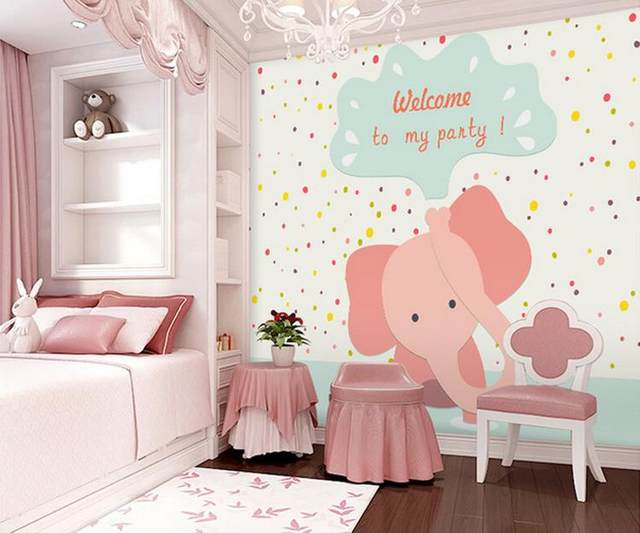 Online Shop custom wall mural 3D stereo cute pink elephant large ...