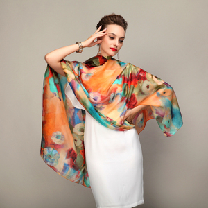 Image 3 - 2016 Winter Fashion Womens Scarf Hot Sale Mulberry Silk Scarves Shawl Female Long Silk Scarf Blue and Coffee 180*110cm
