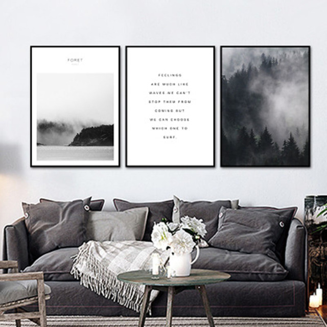 Fog Black White Gray Forest Letter Simple Style Nordic Modern Bedroom Beauty  Art Picture Canvas Posters