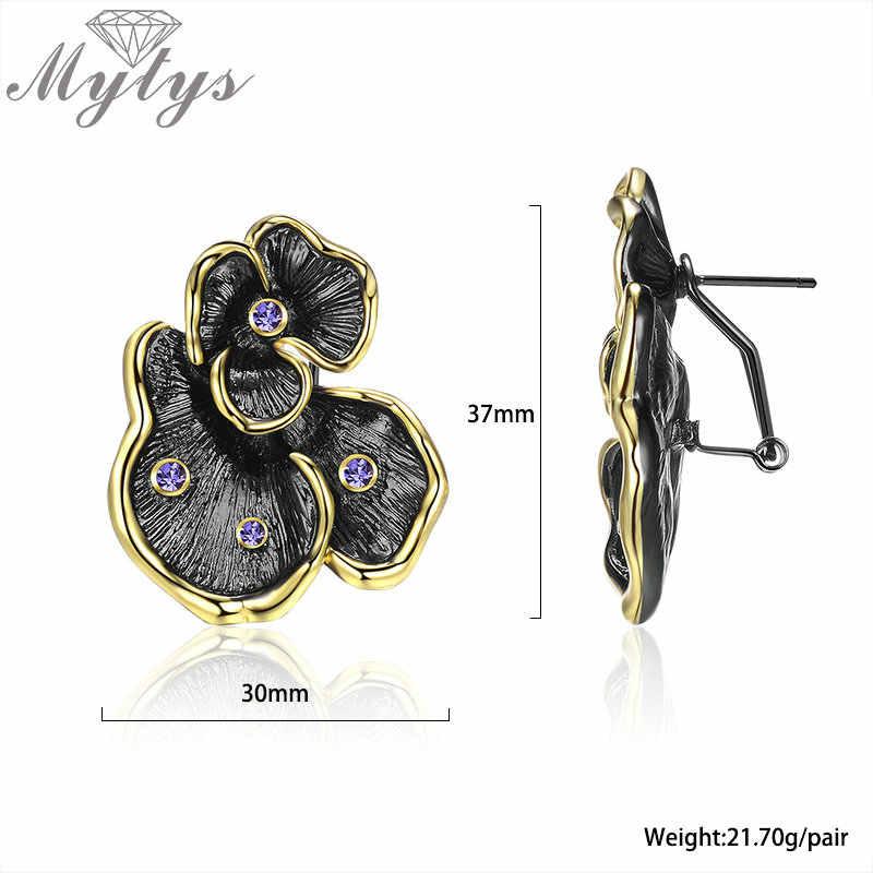 Mytys Đen Súng Vintage Hoa Bộ Trang Sức Nữ Retro Tuyên Bố Vàng Vàng Ren Bông Tai Vòng Cổ Trang Sức CN511