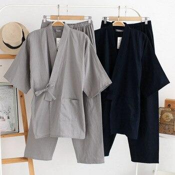 Homens Japonês tradicional Quimono Yukata Pijama Define 100% Algodão Simples Camisola Sleepwear Roupão Lazer Desgaste Homewear Amante