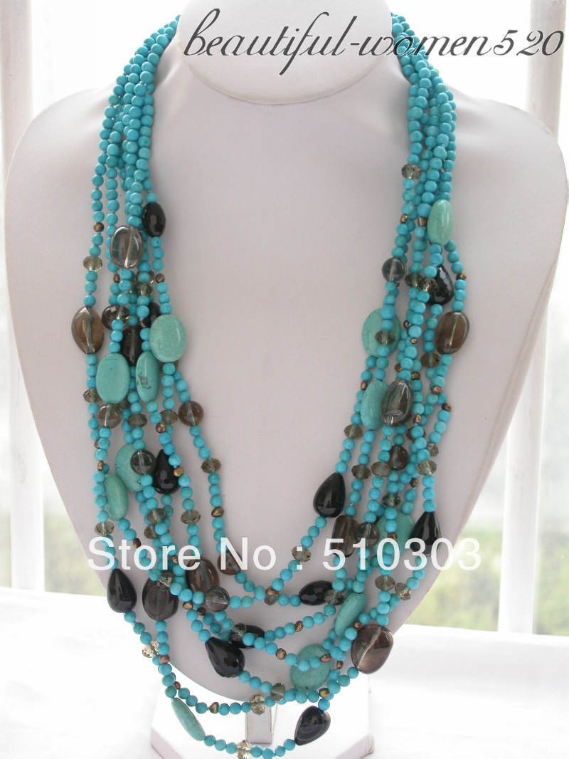 7 Strands 28 round blue Semi-precious Stone bead Smoke crystal drip onyx necklace