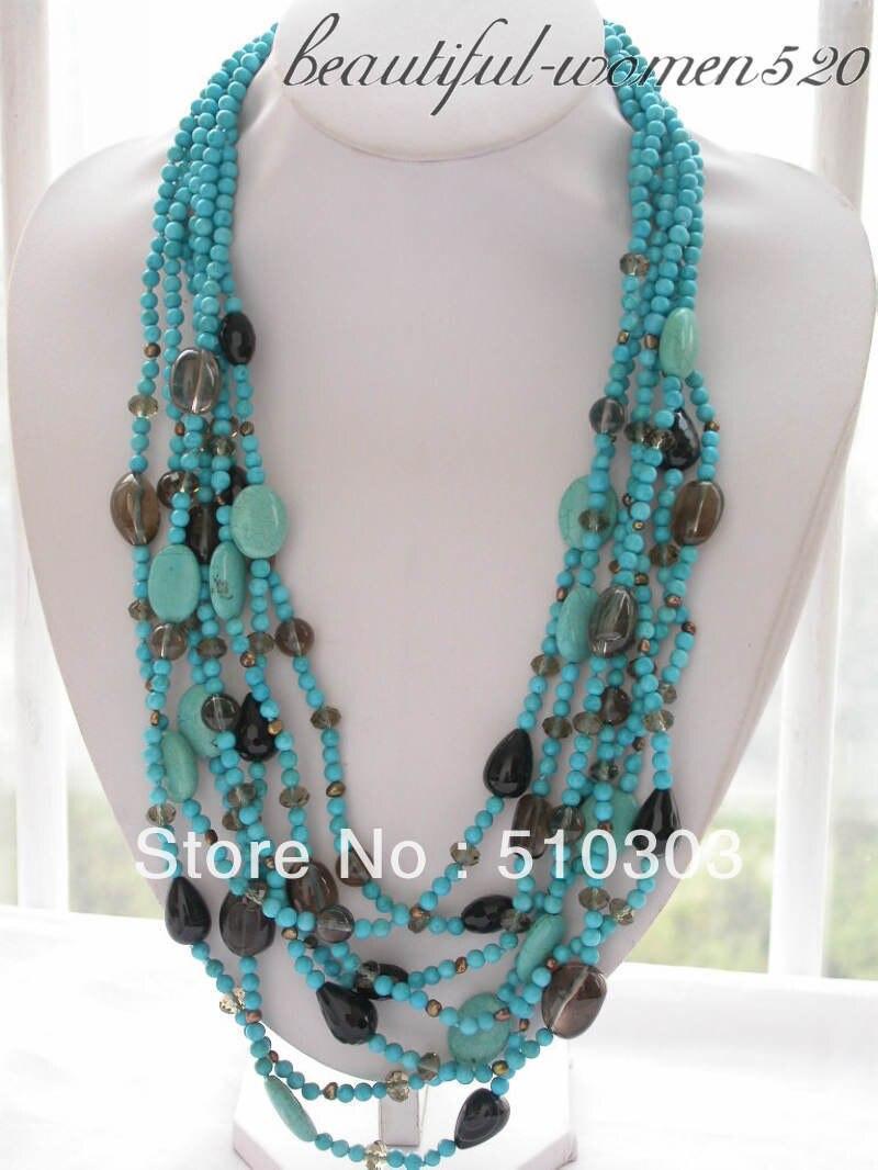 7 Strands 28 round blue Semi-precious Stone bead Smoke crystal drip onyx necklace
