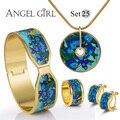 AG модный бренд цветок набор ювелирных украшений браслет Старинные Серии экранированный Серьги и Браслет & Necklace18K позолоченные 13 стилей