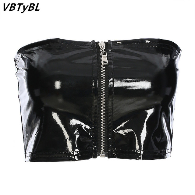 8a3dc66f5b7 VBTyBL Sexy Black PU Leather Tube Top Women Party Club Front Zipper Bandeau  2018 Summer Cropped Seamless Strapless Crop Top Bra