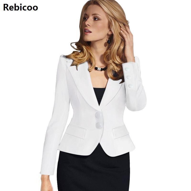 Womens Autumn Winter Long Sleeve Turn Down Collar Button Wear To Work Business Office Outwear Jacket Blazer