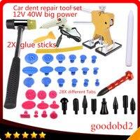 Car PDR Tools set Paintless Dent Repair Tool 28X Pulling Tabs Hammer Knock Down Pen for Car Tool Herramentas +40W Melt Glue Gun
