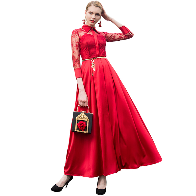 Us 65 71 38 Off Df Sexy Luxury Vintage Voile Party Evening Maxi Long Dress Wedding Autumn Plus Size Red Women Night Maxi Dresses 6935 In Dresses