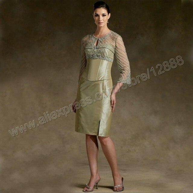 la novia longitud de la rodilla con manga francesa chaqueta vestido
