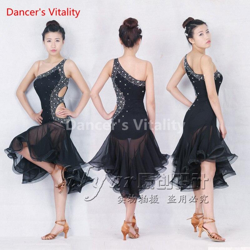 Latin Dance Dresses Halter Sequins Design Latin Dance Dress Women For Costumes Ballroom Dance Competition Dresses Latin Skirt