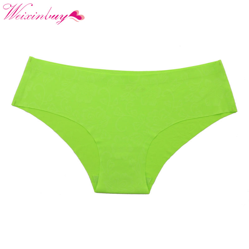WEIXINBUY Sexy Women Girls Bikini Briefs Fashion Seamless Panties Intimates Flower Print Underwear Panty