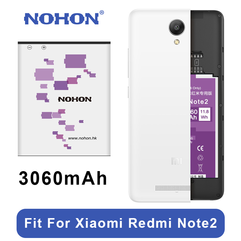 Original NOHON batería BM45 para Xiaomi Redmi nota 2 de alta capacidad 3060 mAh reemplazo de teléfono móvil baterías herramientas libres