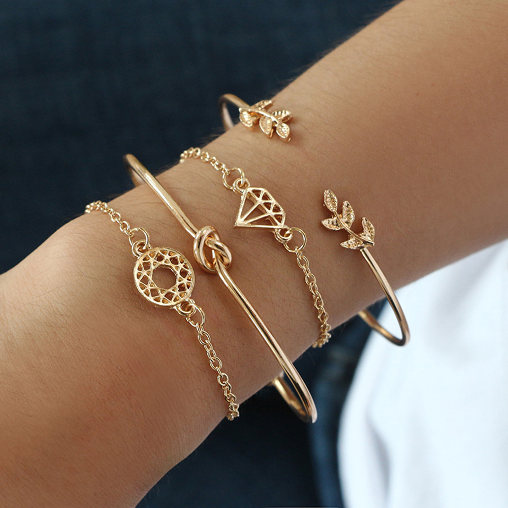 4Pcs Elegant Women's Crystal Rose Flower Bangle Cuff Bracelet Jewelry Gold Set 1