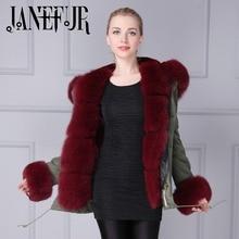 plus size 2016 new long khaki green winter jacket women outwear thick parkas natural real fox fur collar coat hooded pelliccia