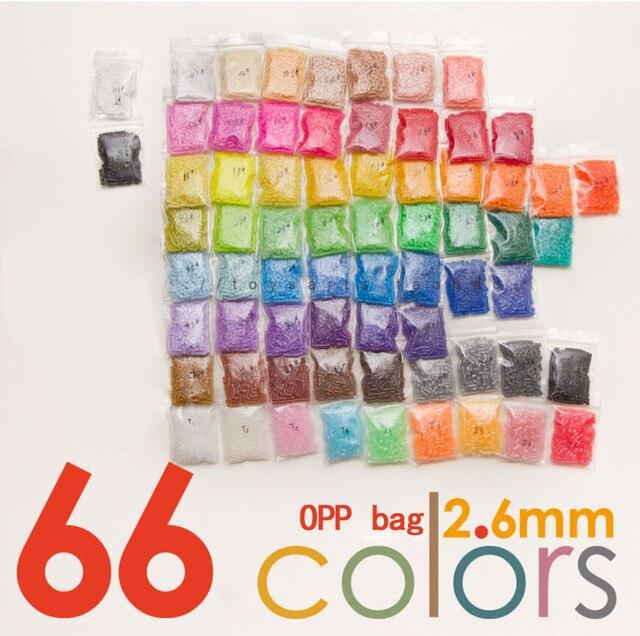 PUPUKOU Mini cuentas Hama de 33000 Uds., bolsa con 66 colores disponibles, 100%, garantía de calidad, 2,6 Uds.