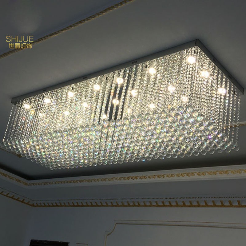 Hotel engineering crystal lamp rectangular ceiling lamp hall lobby living room villa aisle banquet hall custom lamps led lamps northern american mediterranean crystal droplight sitting room dining room bedroom villa hotel lobby engineering lamps
