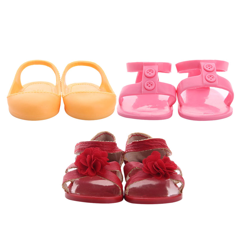 3 Styles Cute Sandals Fit 18 Inch American&43 CM Baby Doll Clothes Shoes Accessories,Girl's Toys,Generation,Birthday Gift