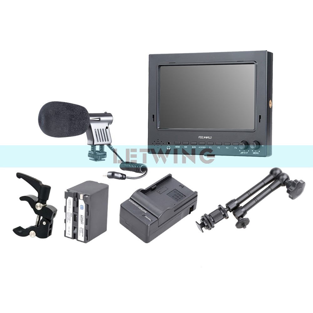 FEELWORLD FW702-HSD 7 Pro-Broadcast 3G/ HD/ HD-SDI Monitor + NP-F970 Battery Charger + 11 Magic Arm+ Super Clamp + Microphone