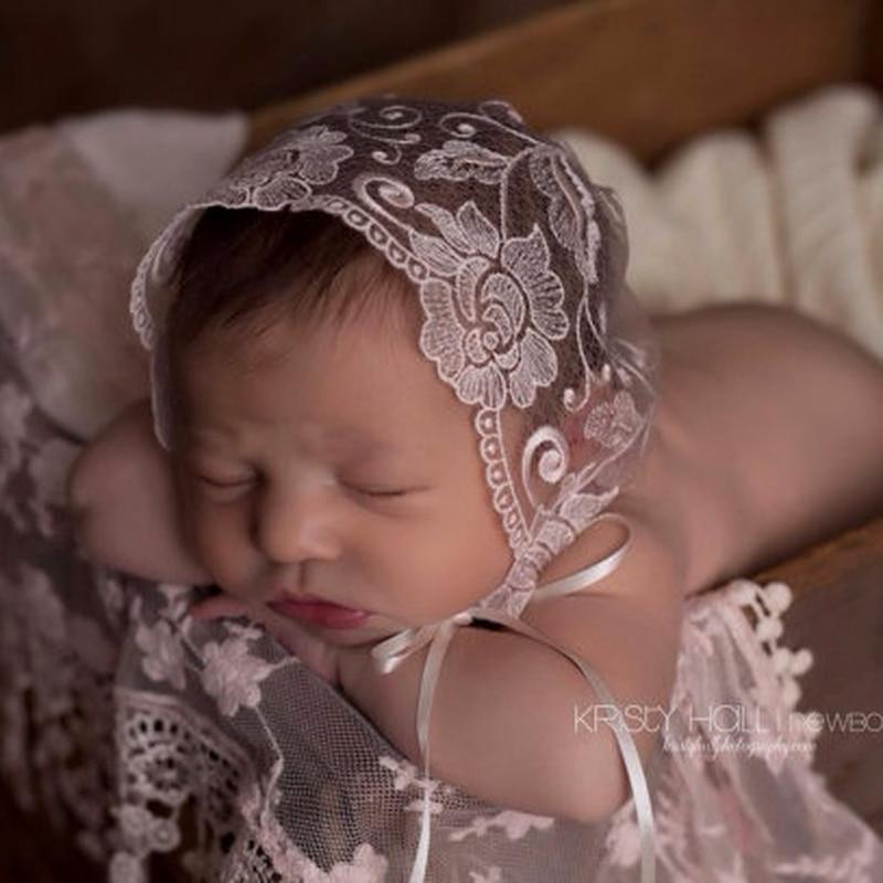 Baby Lace Hat Soft Cap Infant Summer Newborn Photography Prop Bonnet Flower Embroidery Hat Beanie Bonnet Photo Props Accessories
