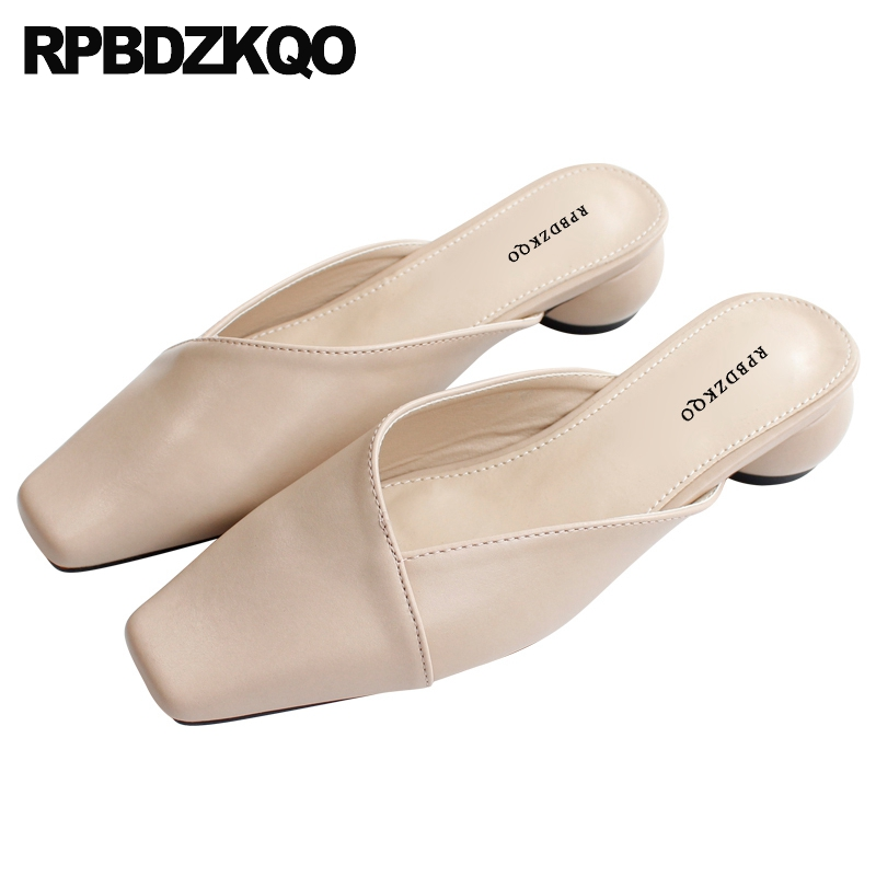 Slides Ladies Low Heel Cheap Chunky Sandals Korean Mules Closed Toe Thick Block Nude Luxury Shoes Women Designer 2019 Slippers(China)
