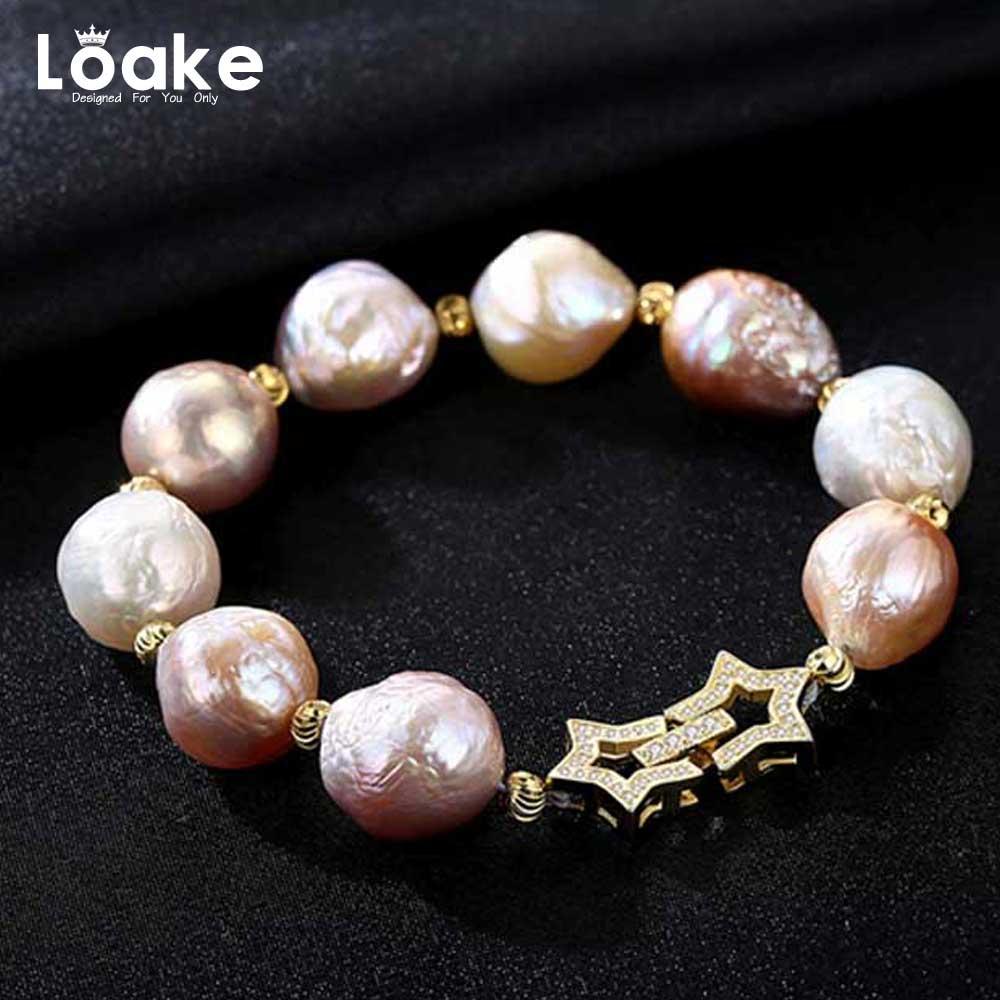 где купить Loake High Quality 925 Sterling Silver Bracelet Star Nature Pearls Luxury Classic Hand Accessories по лучшей цене