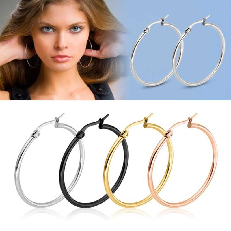 Hot Cheap Wild Exaggerated Large Earrings Stainless Titanium Steel Round Buckle Hoop Earrings For Women Jewelry Accessories Gift