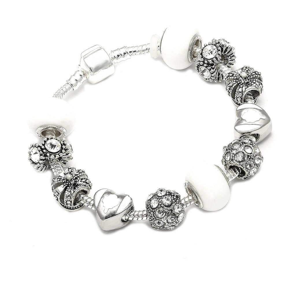Crown Charm Bracelet: Silver Charm Bracelet & Bangle With Royal Crown Charm And