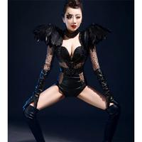 Black Feather Costume Leather Bodysuit Fashion Nightclub One piece Net Clothing Female Singer DJ Jazz Stage Wear Performance