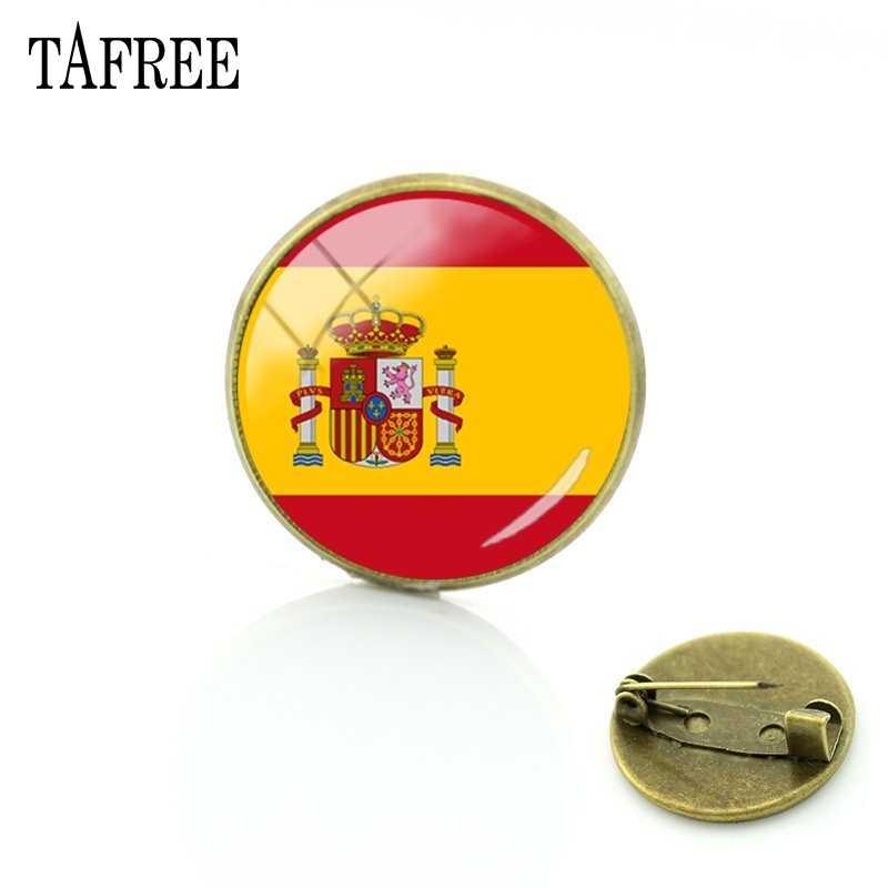 TAFREE 2018 新 25 Countrys 旗スタイルブレストのファッションスペイン、日本バッジガラスのブローチ/男服スカーフピン FG87