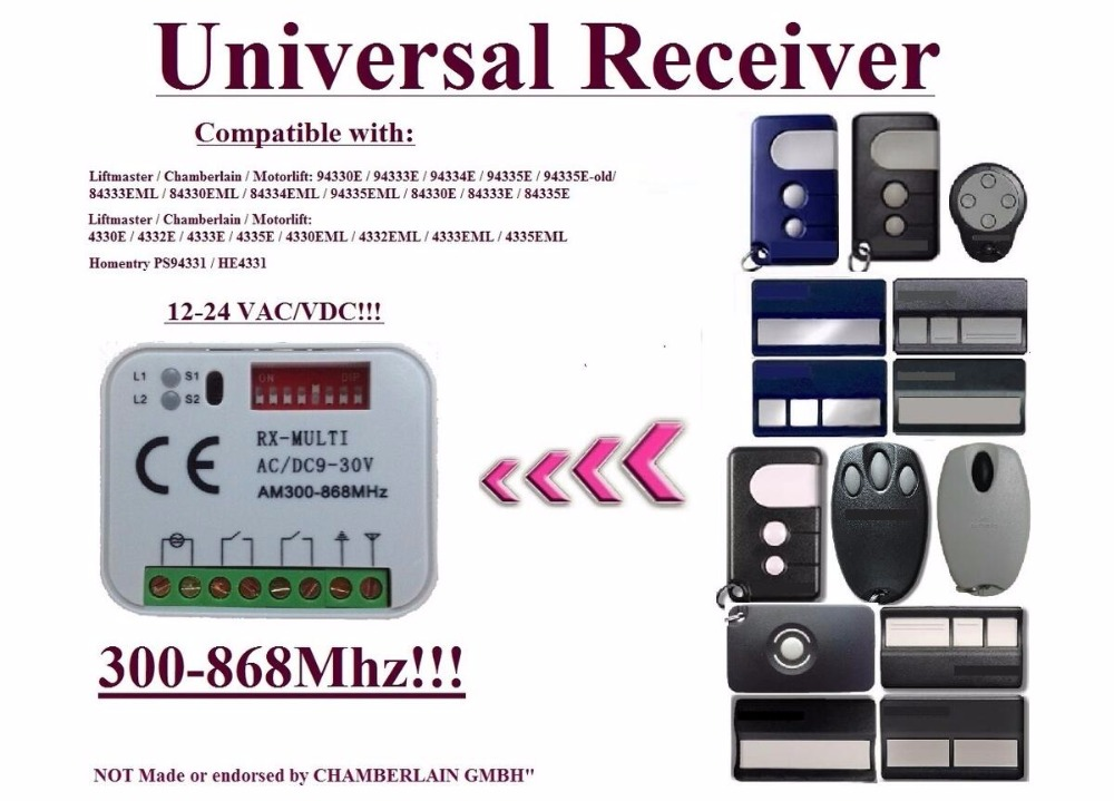 5pieces / lot  433,92MHz  2-channel  Universal receiver for  Liftmaster / Chamberlain / Motorlift / HOMNTRY remote controls 5 pieces lot d151811 3210