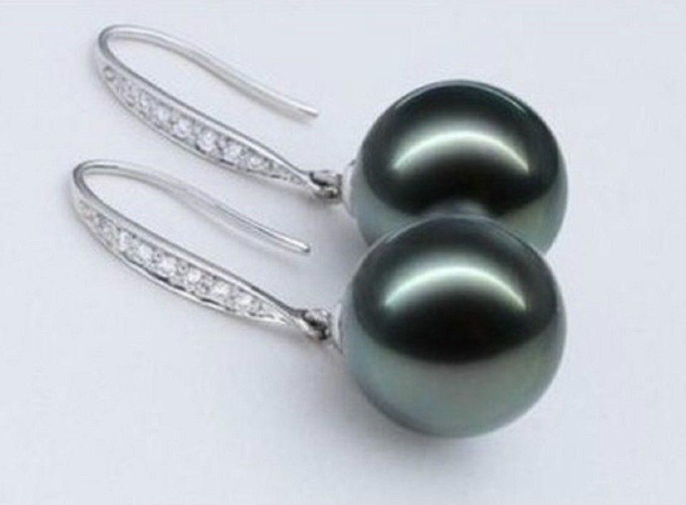 Beautiful a pair AAA round 9-9.5mm tahitian black pearl earrings a pair of tahitian black pearl earrings silver