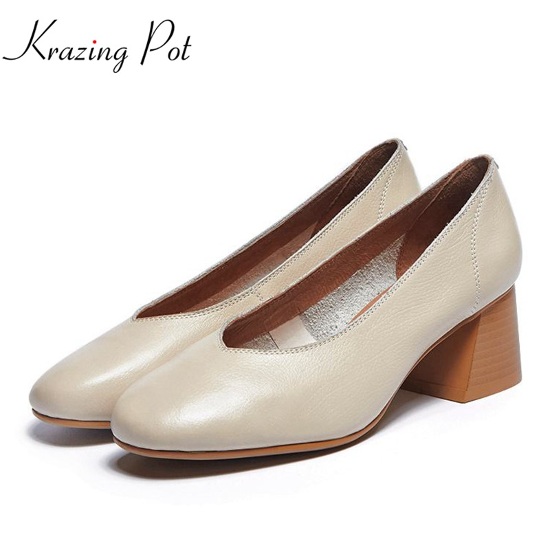 Krazing pot 2018 fashion women brand shoes square med heels soft genuine leather women pumps high street fashion glove shoes L01 krazing pot fashion brand shoes genuine leather slip on pointed toe concise lazy style strange high heels women cozy pumps l73