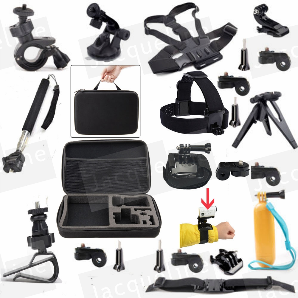 JACQUELINE for Accessories Kit for Sony Action Cam HDR-AS15 AS200V AZ1 Mini AS20 AS30V AS100V AS50 AS300 Tripod mount dz chm1 clip head mount kit for sony action camera fdr x1000v hdrr as200v hdr az1vr hdr as100v