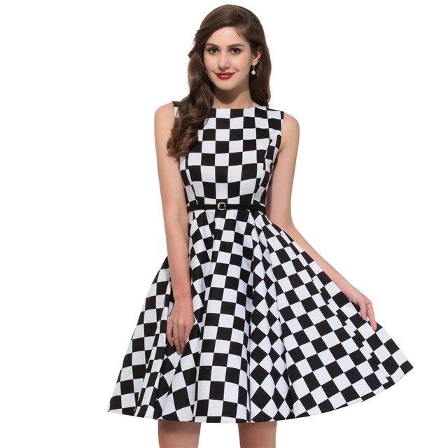 Summer Plaid Dress Girl 50s Rockabilly Dress Kleid Leo Pin Up ...