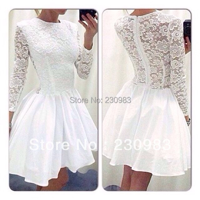 535baddc46f Stunning Crew Neckline Ruffle Lace Sheer Long Sleeve Lace White Short Mini Prom  Dresses Party Dresses 2015 New Free Shipping