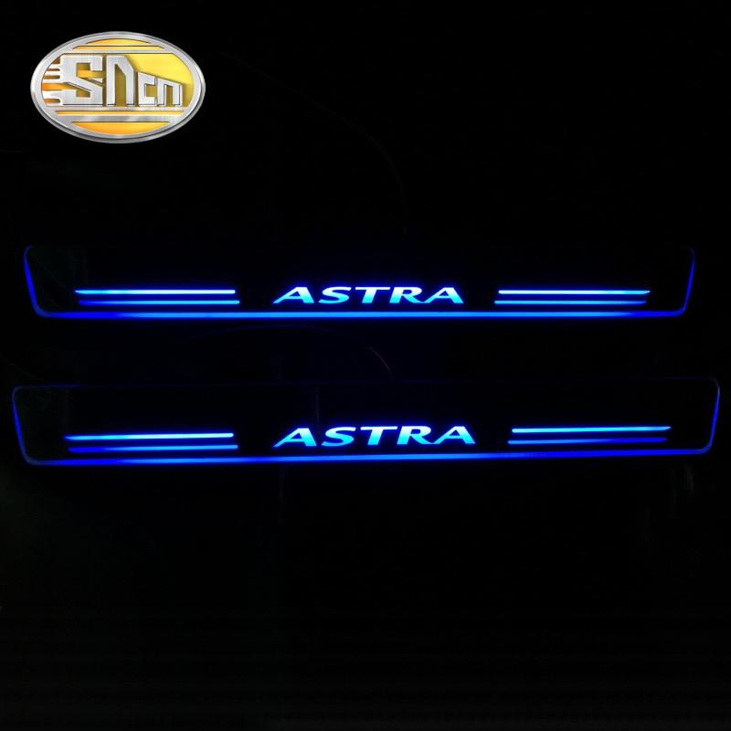 SNCN 4 pièces acrylique mobile LED bienvenue pédale voiture plaque de seuil de porte pédale voie de seuil lumière pour Opel Astra J H 2016 2017 2018