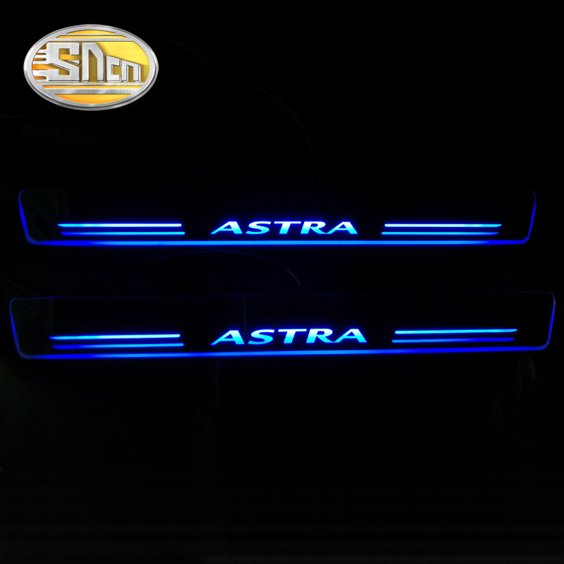SNCN 4PCS Acrylic Moving LED Welcome Pedal Car Scuff Plate Pedal Door Sill Pathway Light For Opel Astra J H 2016 2017 2018