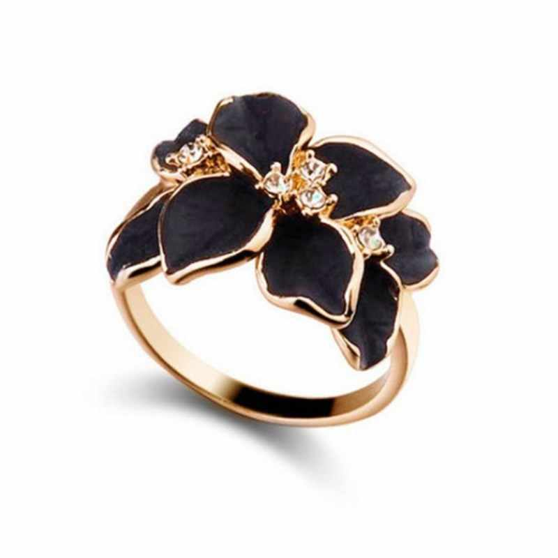Delicate Crystal Leaf Shell Flower Gardenia Rings for Women  8RD47