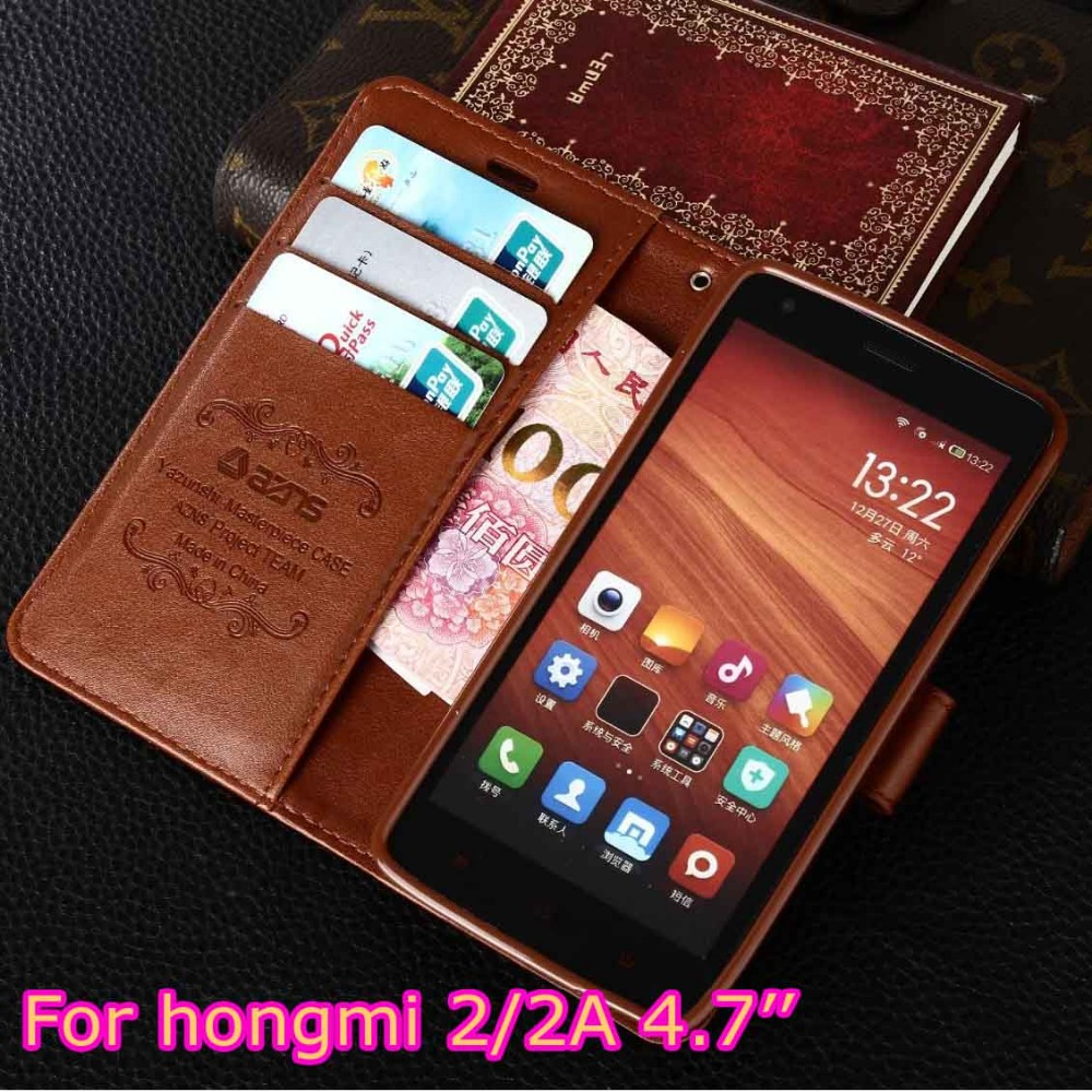 azns Case For Xiaomi Redmi 2 4.7 Wallet Leather Case Stand Flip Card Hold Phone Cover Bags For Xiaomi Hongmi 2