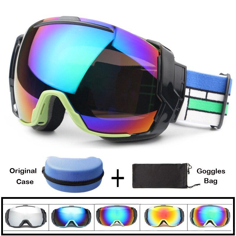 Men Women Winter Ski Goggles 2017 New Anti-fog Skiing Eyewear Motorcycle Double Lens UV400 Skating Glasses Dustproof Snowboard