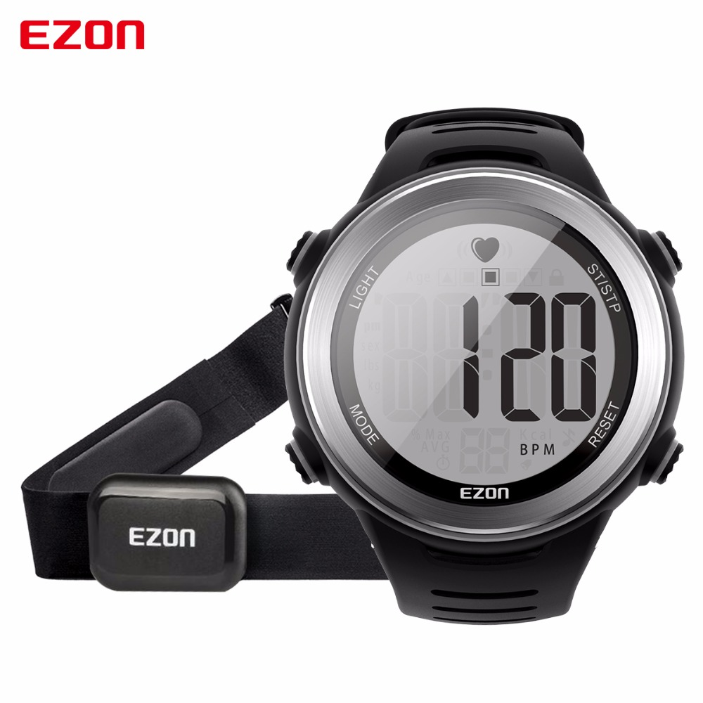 New Arrival EZON T007 Heart Rate Monitor Digital Watch Alarm Stopwatch Men Women Outdoor Running Sports Watches with Chest Strap ezon men women watch waterproof heart rate monitor outdoor running sport alarm chronograph digital watch clock with chest strap
