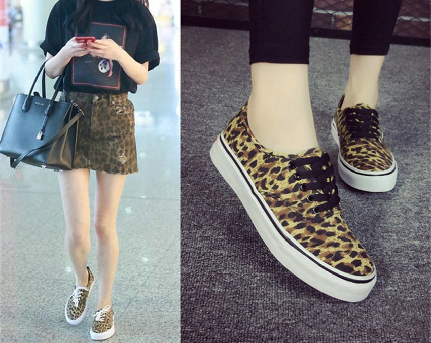 e9abd688e3a Leopard Print Canvas Shoes Womens Animal Print Canvas Sneakers Womens Flat  Lace-Up Sneakers Athleisure