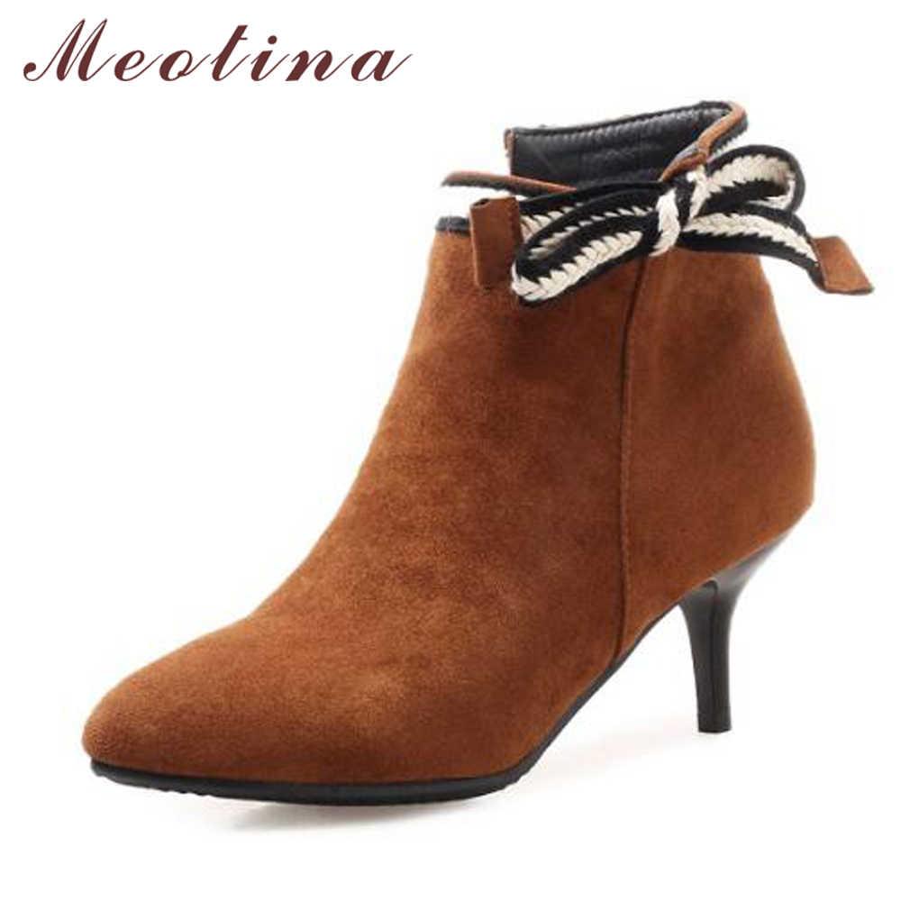 Meotina/Зимние ботильоны женские ботинки на высоком каблуке короткие ботинки с острым носком на тонком каблуке вечерние туфли-лодочки на молнии женская обувь размер 11 12
